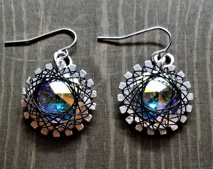 Spirograph Inspired Light Blue/Green/Purple/Gold Swarovski Crystal Earrings in Silver Setting with Black Wire