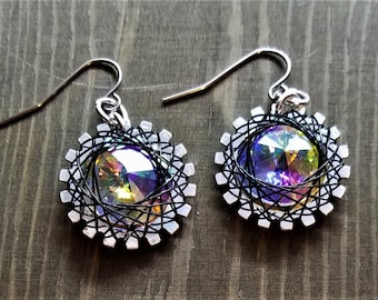 Spirograph Inspired Rainbow Shimmer Swarovski Crystal Earrings in Silver Setting with Black Wire