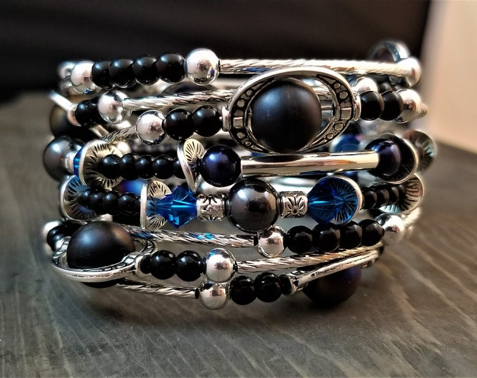 STACKABLE SET: Sapphire & Steel - Three Stackable Memory Wire Bracelets (Limited Edition!)