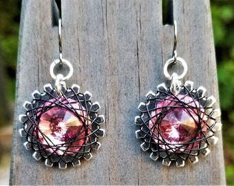 Spirograph Inspired Pink Swarovski Crystal Earrings in Silver Setting with Black Wire