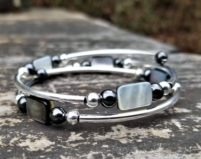 Mother of Pearl Rectangular Fight Night Memory Wire Bangle