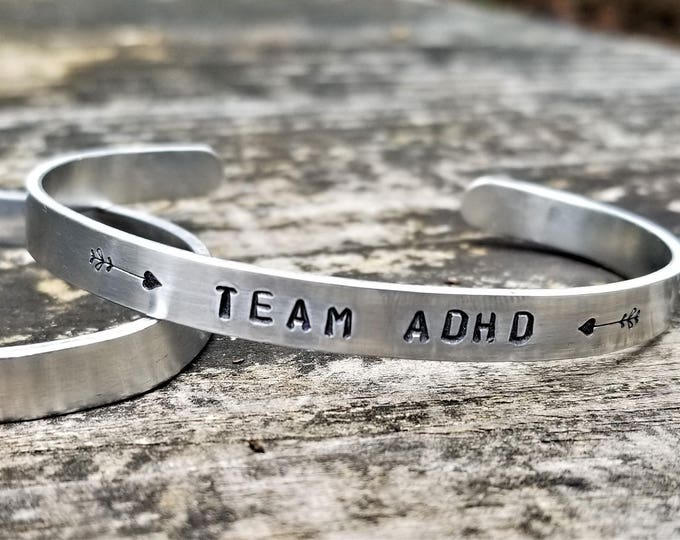 TEAM ADHD: Hand Stamped Metal Cuff Bracelet, Aluminum