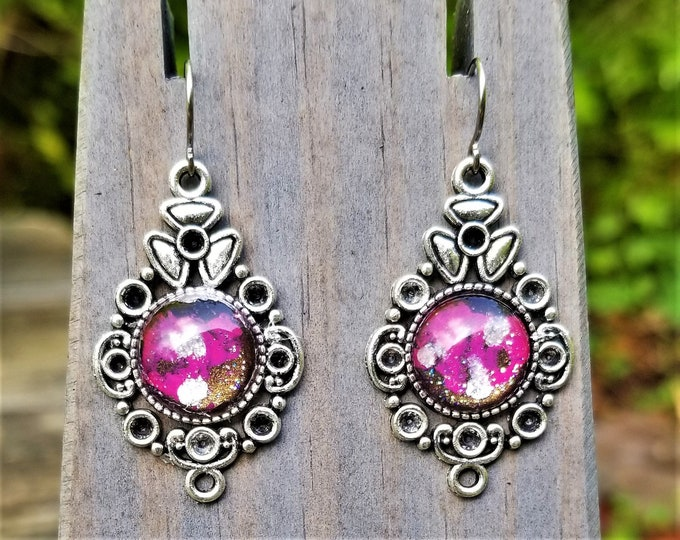 Pink Clouds Hand-Painted Glass Earrings