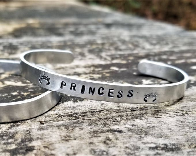 PRINCESS (with tiara stamps): Hand Stamped Metal Cuff Bracelet, Aluminum