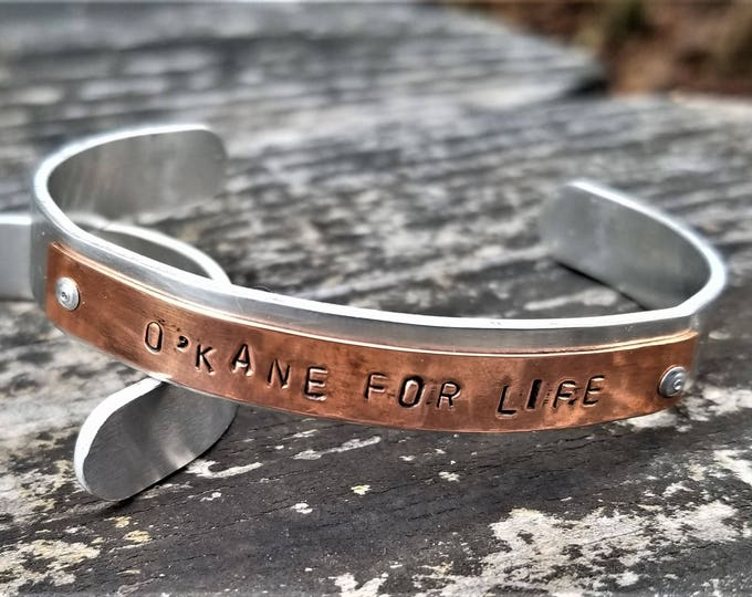 O'KANE FOR LIFE: Hand Stamped Two-Tone Metal Cuff Bracelet, Copper & Aluminum