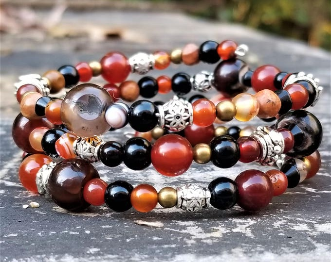 West Harvest Festival Earth Bracelet: Brown, Bronze, Gold, Black & Silver