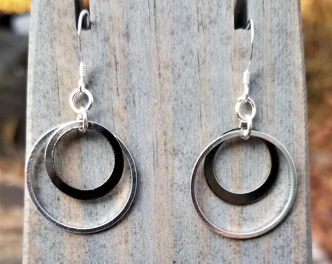 Fight Night Earrings Variations: Gunmetal & Steel Circles