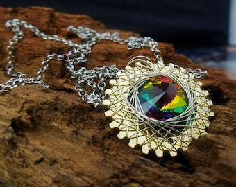 Spirograph Inspired Rainbow Swarovski Crystal Pendant in Brass Setting with Silver Wire
