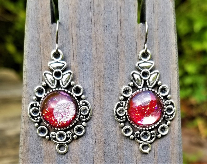 Red & White Hand-Painted Glass Earrings