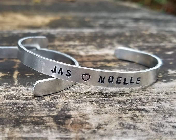 JAS <3 NOELLE: Hand Stamped Metal Cuff Bracelet, Aluminum