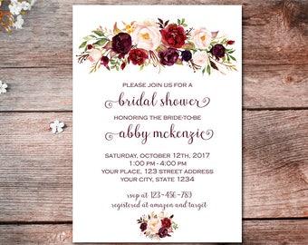 Marsala Bridal Shower Invitation, Burgundy Floral Invitation, Marsala Wedding, Floral Boho Invitation, Bridal Shower Invitation, Printable