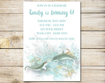 Dolphins Birthday Invitation, Dolphin Tale Birthday Party Invitation, Beach Invitation, Pool Party Invitation, Sea Invitation, Dolphin Party