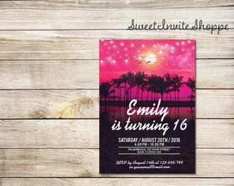 Beach Birthday Party Invitation, Palm Trees Invitation, Tropical Beach Invitation, Sweet 16 Invitation, Any Age Birthday Party, Aloha Invite