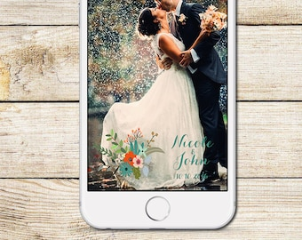 Snapchat Geofilter, Wedding Snapchat Geofilter, Floral Snapchat Filter, Custom Wedding Geofilter, Mint And Orange Wedding Snapchat Filter
