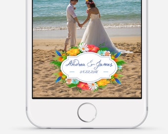 Snapchat Geofilter, Tropical Wedding Snapchat Filter, Custom Wedding Geofilter, Beach Wedding Snapchat Filter, Summer Geofilter