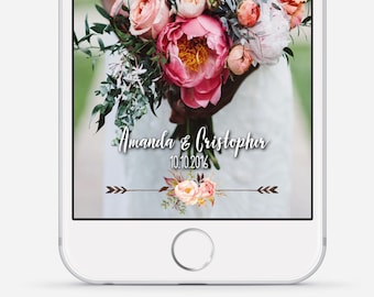 Wedding Snapchat Geofilter, Snapchat Geofilter, Boho Floral Snapchat Filter, Custom Wedding Geofilter, Roses Wedding Snapchat Filter