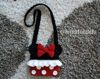 Crochet Minnie mouse, crochet bags, crochet purse, Minnie mouse, bag patterns, crochet bows, crochet minnie bow, PDF Instant Download
