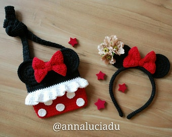 Minnie mouse and headband 2 patterns pack, crochet bags, crochet purse, Minnie mouse, crochet bows, PDF Instant Download
