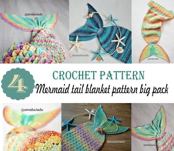 Mermaid Tail Decke 4 Pack MUSTER NUR häkeln Größe: | Etsy
