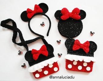 4 patterns big pack, crochet minnie mouse, crochet bag, crochet costume, crochet headbands, crochet love, PDF Instant Download