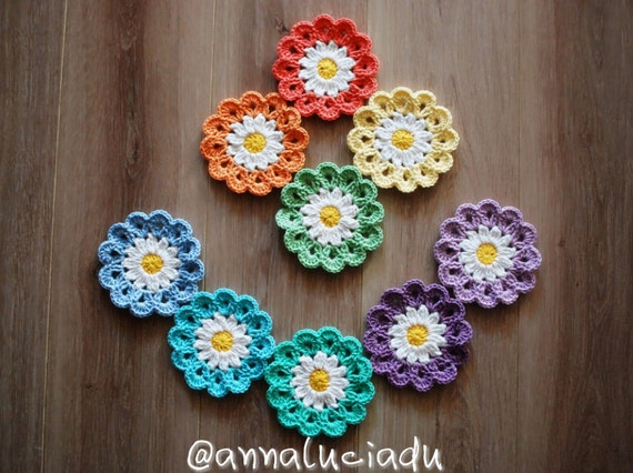 Crochet Crochet Flowers Crochet Daisy Flower Applique Etsy