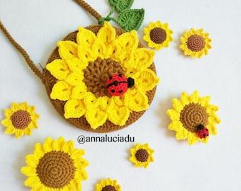 4 patterns big pack , Crochet sunflower big pack pattern, crochet sunflowers, crochet patterns, sunflower bag, PDF Instant Download