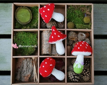 4 different sized toadstool pack, crochet patterns, toadstool pattern,  woodland, forest theme, christmas decor,PDF Instant Download