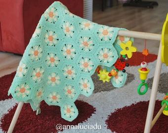 crochet home, crochet blanket, crochet afghan, crochet easy pattern, flowermotif, handmade flowers, PDF Instant Download
