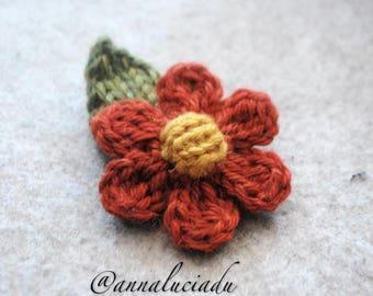 Knitted flower, crochet flower, flower applique.  PDF Instant Download