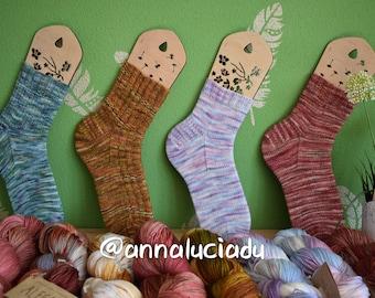 Knit basics socks with 3 different tools top down,  handdye yarn sock, beginner sock pattern, easy  pattern, PDF Instant Download