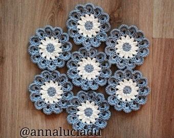 Crochet coasters, Crochet Flowers, Applique, Grey, Crochet Daisy, Crochet Motif, Flower Motif, Crochet Blanket, PATTERN - INSTANT DOWNLOAD