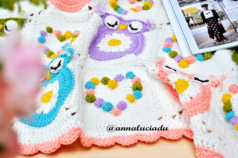 Owl Obsession Colorful Owl Blanket Pattern Crochet Owl Etsy