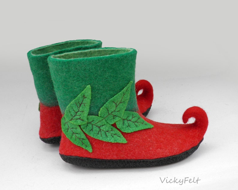 1355bda5e0d2 Costume fairy shoes Christmas Elf shoes Felted slippers Womens