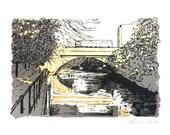 Water of Leith, Edinburgh, Screen Print with Metal Leaf