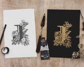 Illustrated Letter Lino Print 'J'