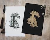 Illustrated Letter Lino Print 'F'