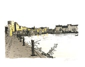 The Shore at Leith Screen Print with Metal Leaf