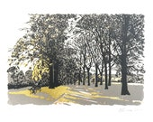 Inverleith Park, Edinburgh, Screen Print with Metal Leaf