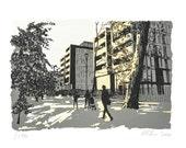 North Meadow Walk, Edinburgh, Screen Print with Metal Leaf
