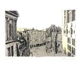 Cowgate from George IV, Edinburgh, Screen Print with Metal Leaf
