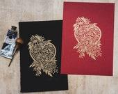 Floral Heart Lino Print