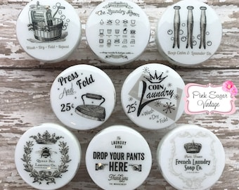 LAUNDRY ROOM Knobs #2 Famhouse Cabinet Drawer GRAY White Pulls Vintage Paris France Shabby Chic Retro Cottage Distressed French Provincial
