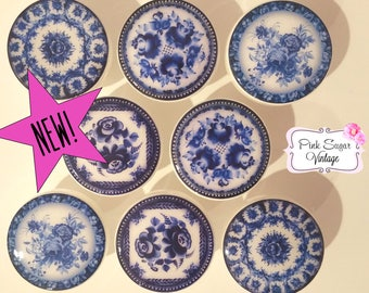 CHINOISERIE Handmade Kitchen Knobs Blue & White Drawer Pulls Paris France Shabby Chic Cottage French Provincial Farmhouse Set