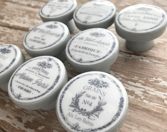 GRAY WHITE Kitchen Cabinet Knobs CAFE Drawer Cabinet Pulls Paris France Shabby Chic Cottage French Farmhouse Advertisements