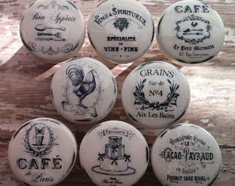 Vintage Handmade Kitchen Knobs Drawer Pulls Paris France Shabby Chic Chicken Rooster Cottage French Provincial Farmhouse The Cafe Set