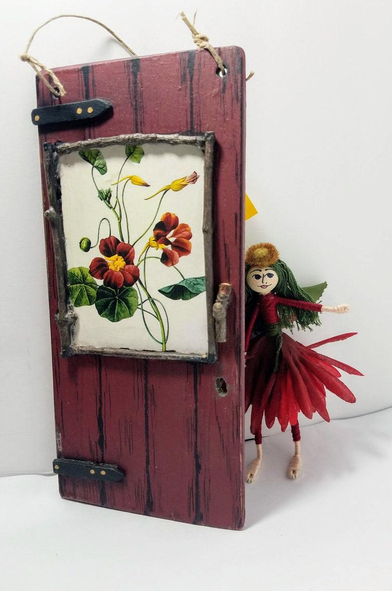 fairy door with mini fairy key, flower garden window, & fairy poem. wine 2  sided, wooden, twig trim, wall art. mother's day, nursery decor