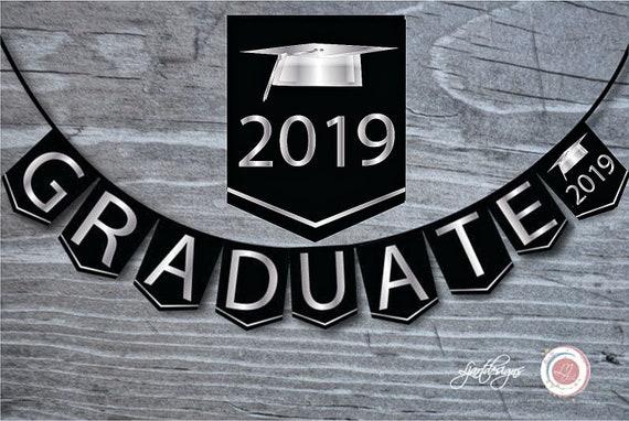 black and silver graduation bunting flags digital graduate banner