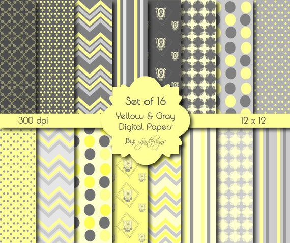 Yellow And Gray Digital Papers Scrapbooking Papers Crafts Etsy