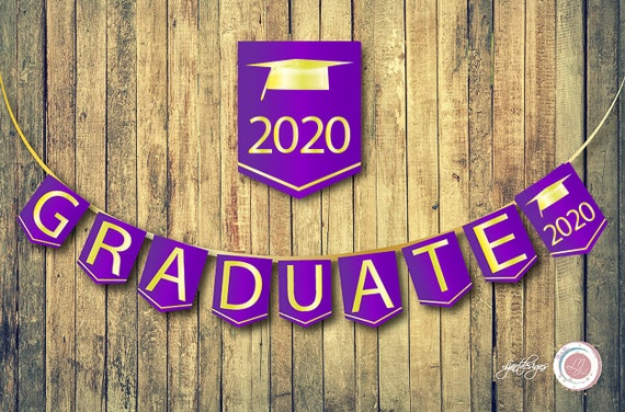 Purple And Gold Digital Graduation Bunting Flags Graduate Banner Cap Scrapbooking Supplies Crafts Clipart Grad Party By Ljartdesigns Catch My Party