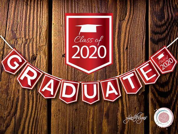 Red And White Graduation Banner Graduate Bunting Flags Digital Scrapbooking Craft Supplies Clip Art Printable Virtual Graduation By Ljartdesigns Catch My Party